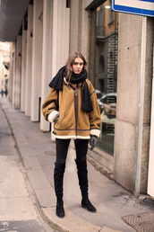jacket,tumblr,camel shearling coat,shearling jacket,shearling,scarf,streetstyle,boots,black boots,over the knee boots,winter outfits,gloves