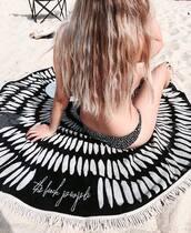 scarf,Round Beach Towel,beach towel,printed towel,bikini,swimwear,swimwear two piece,printed swimwear,black and white swimwear,beach,summer