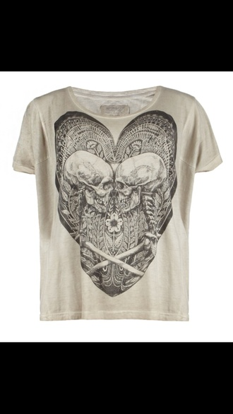 shirt heart white skulls science