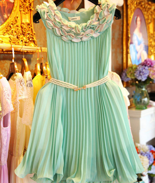 Handmade Flowers Candy Color Fashion Women One Piece Pink and Green Color Summer Dress Sleeveless Clothes | Amazing Shoes UK