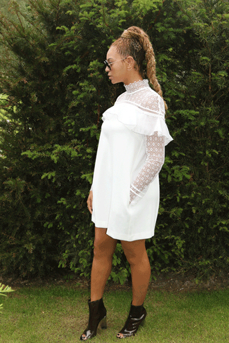 dress white white dress lace dress beyonce booties sunglasses hairstyles long sleeve lace dress