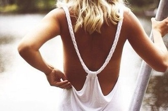tank top white openback braided