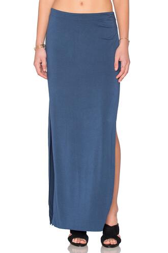 skirt maxi skirt maxi side split blue