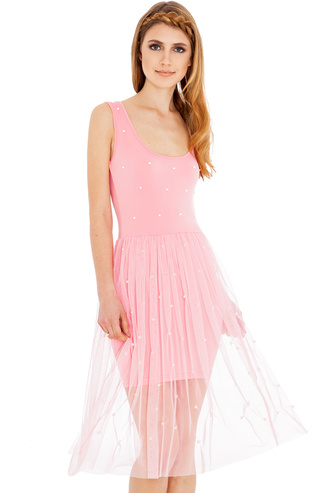 summer outfits dress tulle skirt pearl scoop neck sleeveless fresh