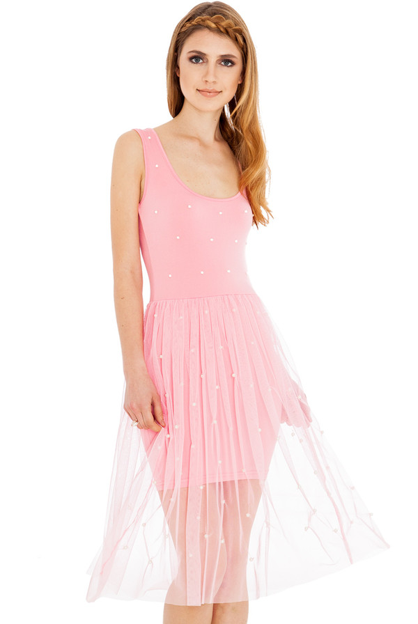 dress tulle skirt pearl summer scoop neck sleeveless