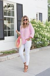 suburban faux-pas,blogger,sunglasses,sweater,tank top,top,jewels,jeans,shoes,bag,scarf,sandals,white pants,pink sweater,round bag