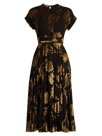 dress midi dress midi floral gold black