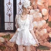 cardian,lace cardigan,white dress,pearl,cardigan
