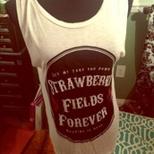 tank top,strawberry,strawberry fields,strawberry fields forever,the beatles,red,lyrics