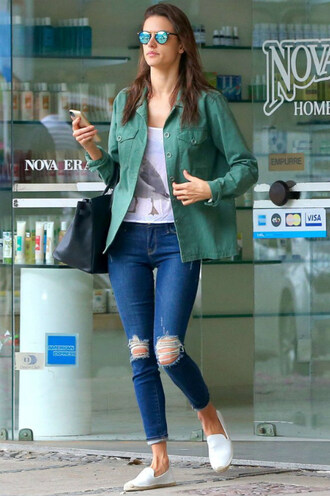 jeans top denim flats alessandra ambrosio shoes
