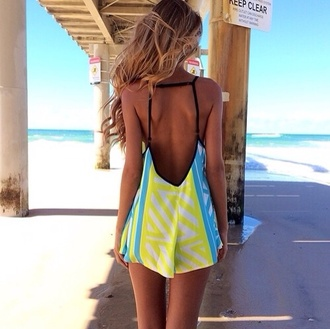dress summer spring romper jumper jumpsuit green lime neon green blue bright blue neon summer colors bright playful sexy beach cute hot clothes stripes colorblock white black yellow yellow and blue beautiful summer dress bare back blouse cut-out colorful backless straps swimwear swimwear printed