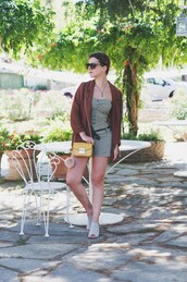 once upon a time,blogger,romper,bag,shoes,shirt,sunglasses,mini bag,yellow,shoulder bag,bomber jacket,blazer,brown blazer,furla,yellow bag,keychain,fur keychain,mules,grey mules,summer outfits,bag accessories