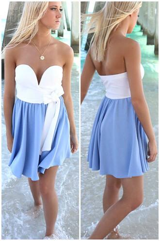 dress amazinglace amazinglace.com summer beach blue white tube top