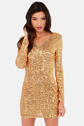 Pretty Gold Dress - Sequin Dress - Bodycon Dress - $77.00