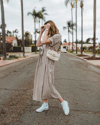 bag dress checkered checkered dress long dress shoulder bag converse