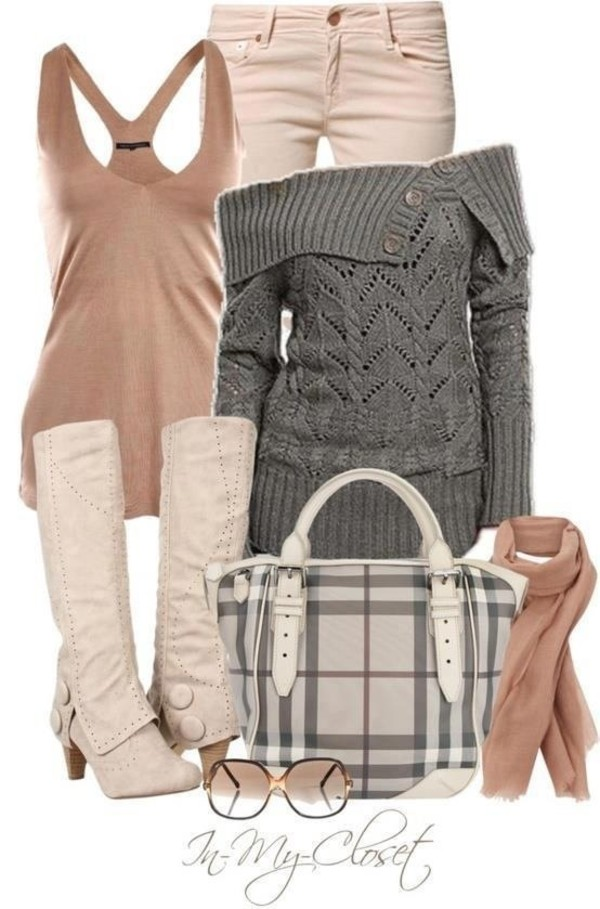 sweater grey grey knitwear sweater dress tank top knitsweater grey sweater tan plaid purse shoes bag grey girly scarf sunglasses jeans top jacket fall outfits off the shoulder off the shoulder grey sweater boots winter outfits cardigan grey off the shoulder sweaterrr blouse hat t-shirt look jumper pants cotton knitwear long sleeves buttons