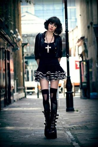 black short dress white platform shoes blouse emo goth dark cross necklace knee high socks black cardigan