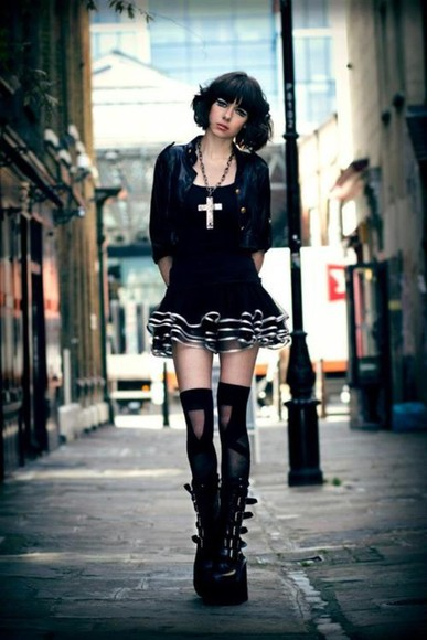 cross necklace white blouse black goth emo dark platform shoes knee high socks short dress black cardigan