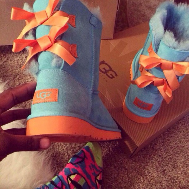 shoes blue and orange uggs bows