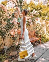 bag,dress,maxi dress,white dress,yellow bag,shoes,sandals,sunglasses