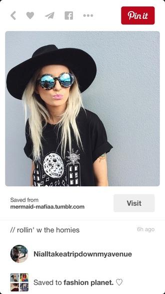 top crop tops shirt black shirt graphic tee coat sunglasses