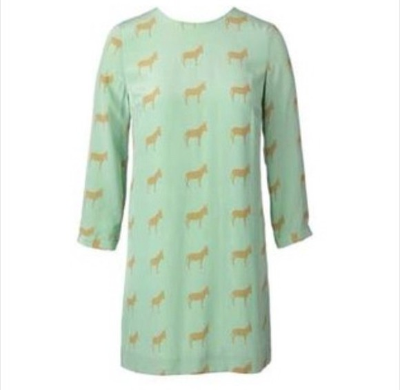 dress mint green dress donkey long sleeve dress shift dress