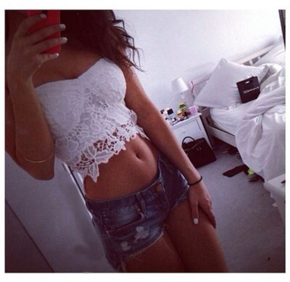 white shirt floral flower lace floral tank top belly shirt flowers blouse shorts top