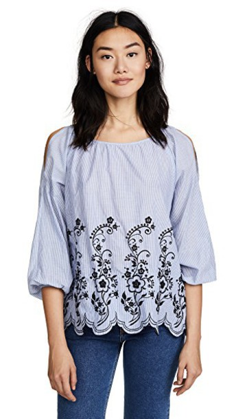 Velvet top embroidered blue