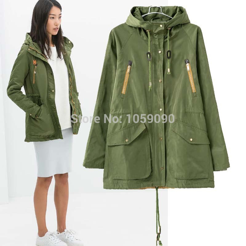 Aliexpress.com : Buy ZA Autumn Winter Army Green Women Hooded Contrast Color Zipper Parkas Outerwear Slim Drawstring Padded Female Uniform Coat from Reliable zipper slides suppliers on Vogue Official Online Shop