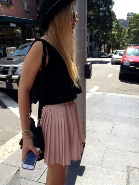 skirt nude pink cute summer spring blouse bag sunglasses hat girl tank top dusty pink baby pink short skirt