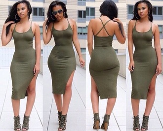 dress sundress green dress bodycon dress criss cross bodycon slit dress party dress sexy party dresses sexy sexy dress party outfits summer dress summer outfits cute dress girly dress summer holidays pool party clubwear club dress date outfit all military green outfit