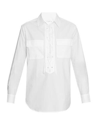 shirt lace cotton white top