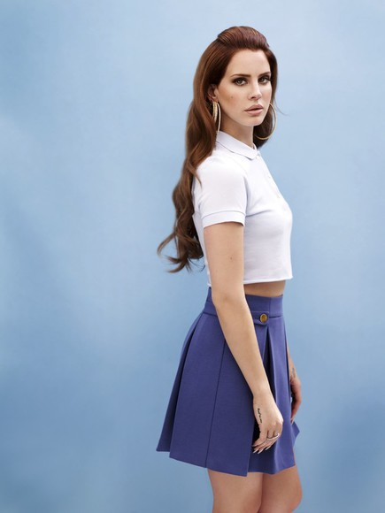 lana del rey shirt polo collar blue crop tops skirt