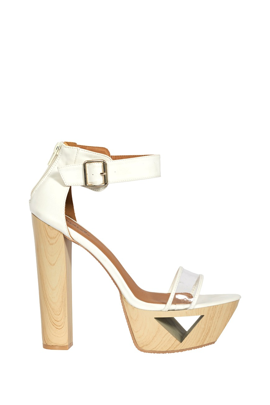 Making shapes white ankle strap cut out platform
