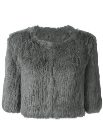 jacket fur jacket cropped fur grey