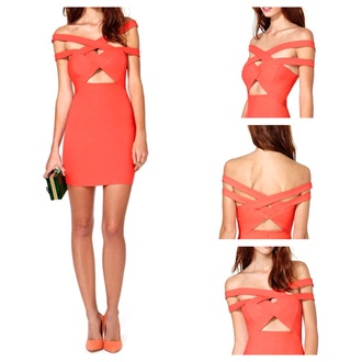 coral dress strappy cut-out dress