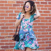 dress,greylin,romper,blue,floral,skater dress