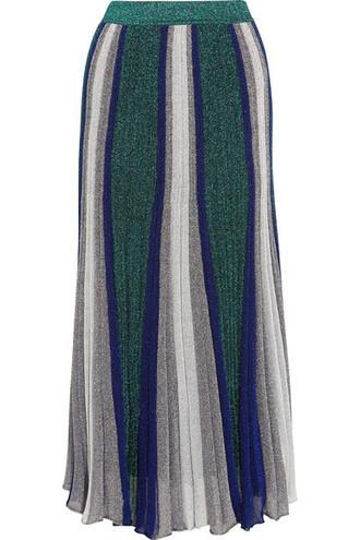 skirt maxi skirt maxi pleated metallic silver knit