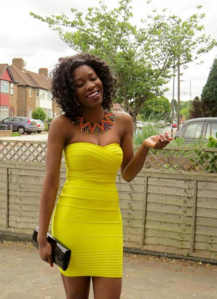 Bqueen Yellow Strapless Sexy Bandage Dress H041