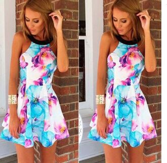 dress print dress halter print dress blue and red floral dress floral dress