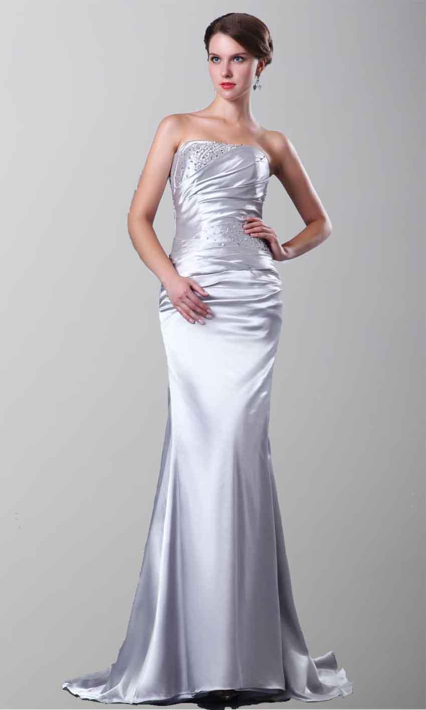 Strapless Satin Mermaid Long Grey Formal Evening Dresses KSP263 ...