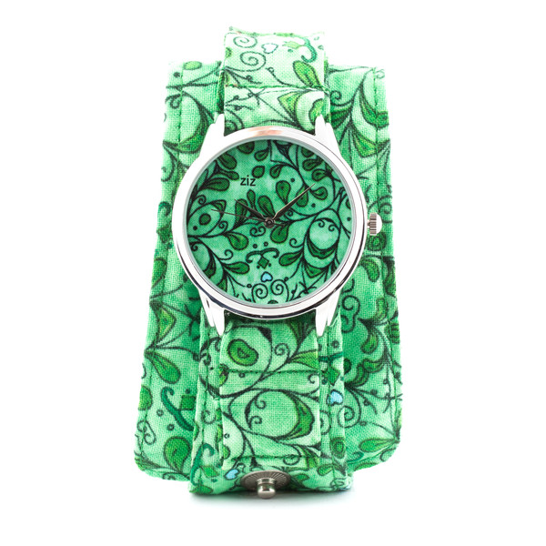 jewels ziz watch watch watch soft watch cotton strap green floral floral watch beautiful watch unusual watch unique watch designer watch ziziztime