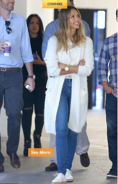 top cardigan jessica alba jeans shoes