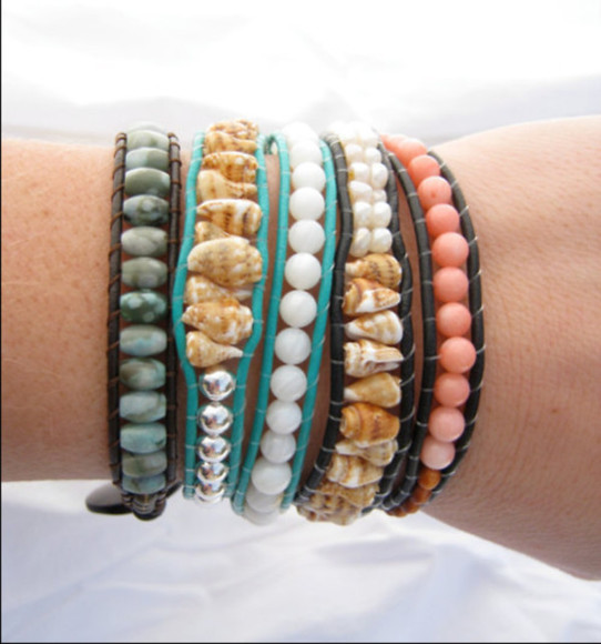 wrap bracelet jewels shells friendship bracelet