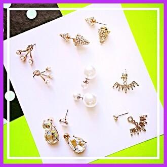 jewels jewel cult cone spike spike earrings earrings 360 earrings stud earrings studs cone spike earrings double sided earrings front back earrings trendy trendy earrings jewelry pearl pearl earrings gold gold earrings ear jackets