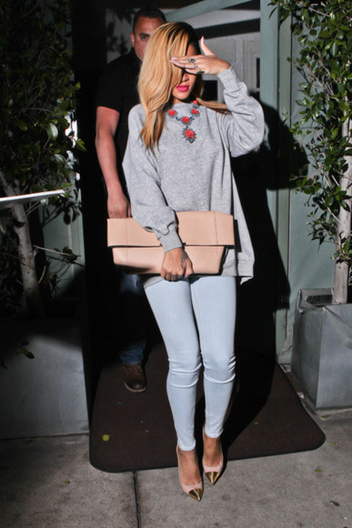 jeans pants skinny jeans rihanna sweater jewels
