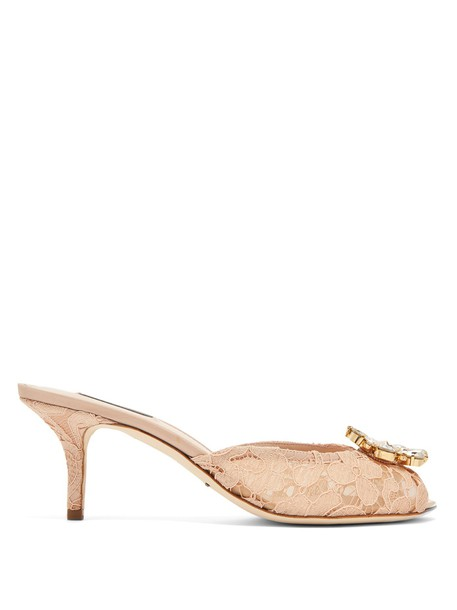 Dolce & Gabbana embellished mules lace nude shoes