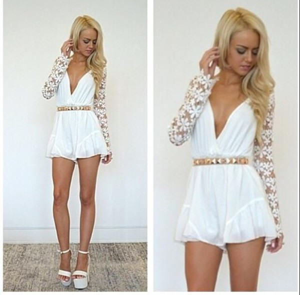 dress fowersleeve white dress romper jumpsuit flower sleeves white cute sexy blouse lovely gold lace floral shoes pants romper