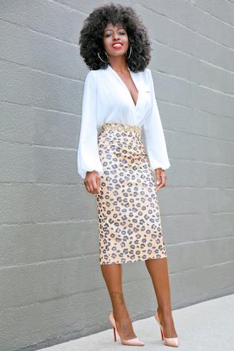 blogger blouse skirt shoes white top high waisted high waisted skirt bodycon skirt nude skirt nude heels louboutin beige black girls killin it leopard print
