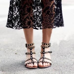 Women's Black Silver Studs T-Strap Flats Gladiator Sandals